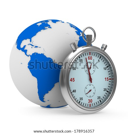 Stopwatch and globe on white background. Isolated 3D image - stock photo