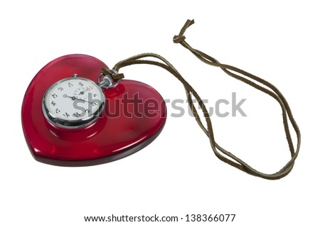 Stopwatch and red heart on leather cord - path included - stock photo