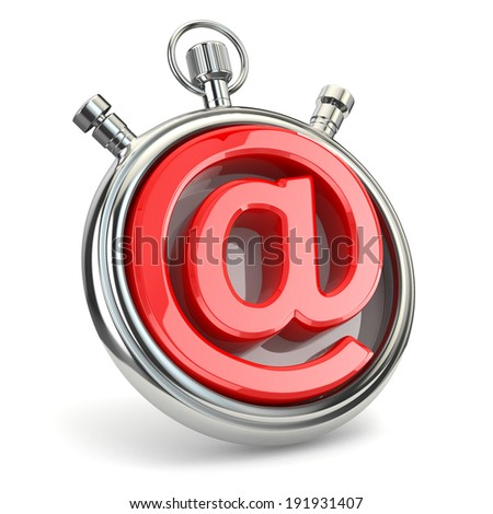Stopwatch and symbol of e-mail. Online support. 3d - stock photo