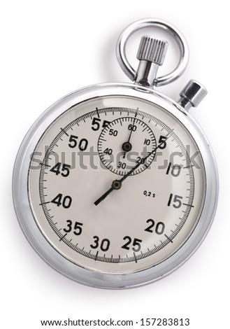 Stopwatch closeup on white background - stock photo
