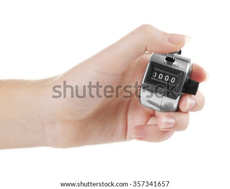 Stopwatch in hand isolated on white background, close up - stock photo