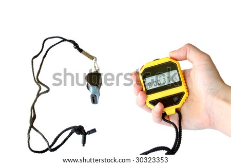 stopwatch in the hand and  sports whistle. Isolated on white - stock photo