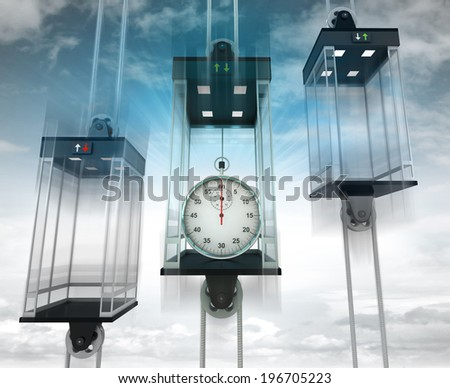 stopwatch in the middle elevator as vertical transport concept illustration - stock photo