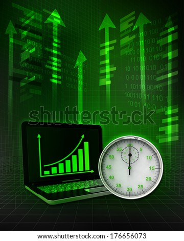 stopwatch timer with positive online results in business illustration - stock photo