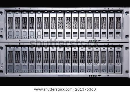 Storage Area Network (SAN) close up - stock photo