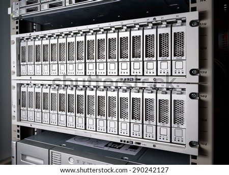 Storage Area Network (SAN) close up - stock photo