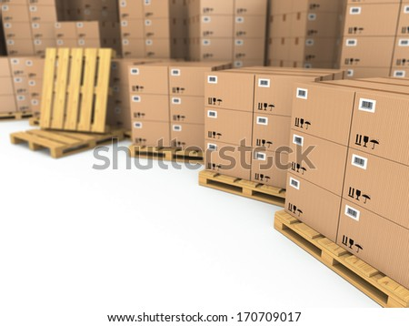 Storage. Cardboard boxes on pallet. Space for text. 3d - stock photo