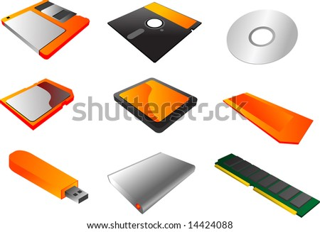 "Storage media, vector illustrations, 3d isometric style: 3 1/2"" floppy diskette, 5 1/4"", cd, sd card, cf card, memory stick, usb pendrive, external hard disk, ram  memory - stock photo"
