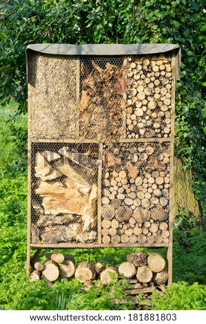 Storage of wood and straw for fire and gardening - stock photo