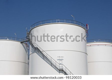 Storage tanks for oil - stock photo