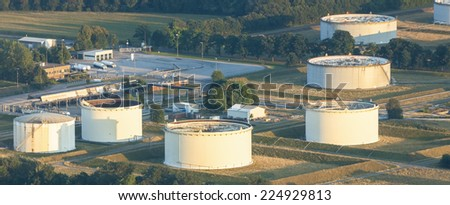 Storage Tanks in Lower Rhine Region of Germany - H�¼nxe, North Rhine-Westfalia, Germany, Europe - stock photo