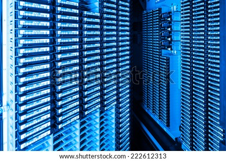 storage tapes in internet data center room - stock photo