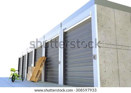 storage units isolated on white background - stock photo