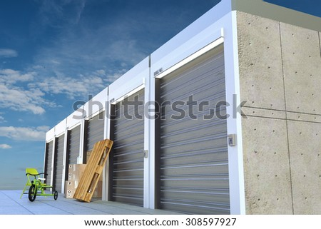storage units on sky background - stock photo