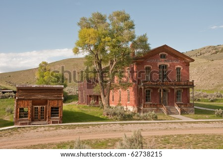 Store and hotel in the once thriving town of Bannack, Montana.  Now a state park the buildings are being preserved for future generations - stock photo