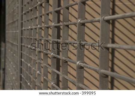 store front gate - stock photo