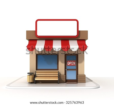 Store with copy space board - stock photo