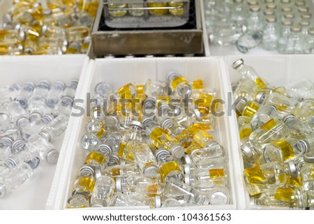Stored waste medicinal bottles - stock photo