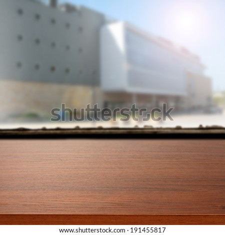storefront and brown desk  - stock photo