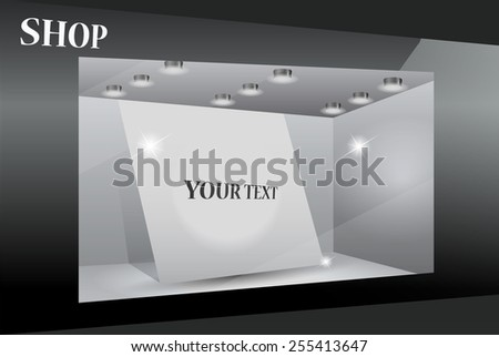 Storefront with poster for your design.Part of set - stock photo