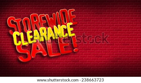 Storewide Clearance Sale logo on brick background. Designed for use as postcard promoting January or After Christmas Sale for a retail establishment. - stock photo