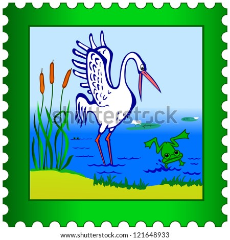 Stork and frog on a postage stamp - stock photo