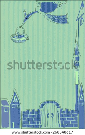 Stork carries a newborn child of his parents past the gates and towers of the castle, with the birth of a boy,design  baby greeting card with place for text - raster copy illustration - stock photo