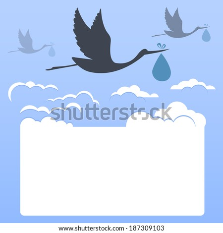 Storks with clouds - stock photo
