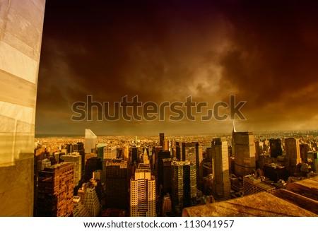 Storm above Manhattan Skyscrapers, New York City - stock photo