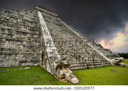 Storm at Kukulkan pyramid in Chichen Itza, Mexico - stock photo