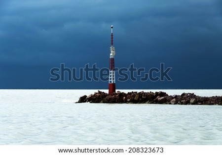 Storm at Lake Balaton, Hungary - stock photo