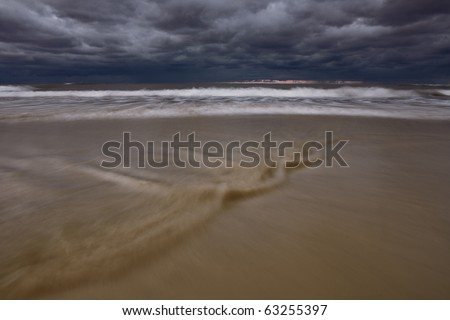storm at sea - stock photo