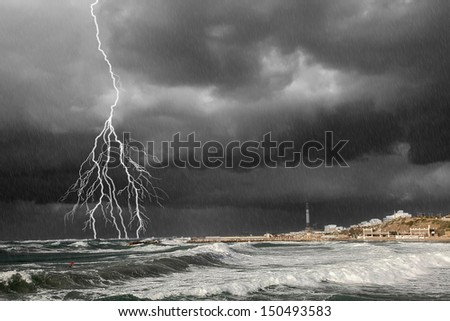 Storm by the Mediterranean sea  - stock photo