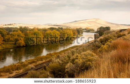 Storm Clearing Over Agricultural Land Yakima River Central Washington - stock photo