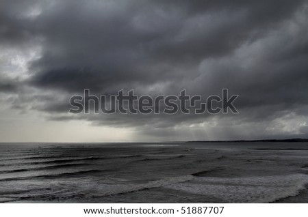 Storm clouds along the Atlantic coast - stock photo