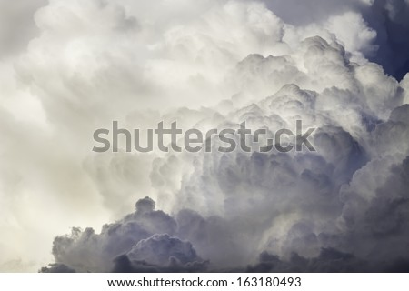 Storm clouds and thunder heads before storm in Summer. - stock photo