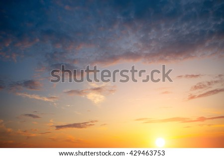 Storm clouds at sunset. Genuine horizontal Natural composition - stock photo