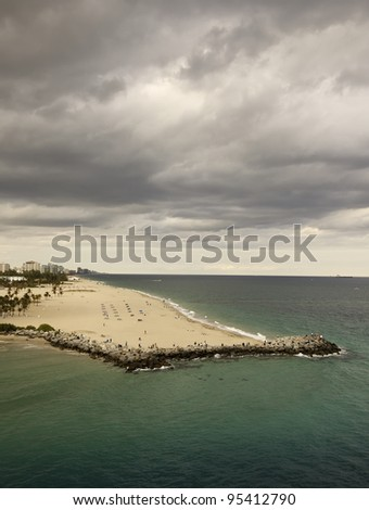 Storm Clouds Move in Over Ft. Lauderdale Beach, Florida - stock photo