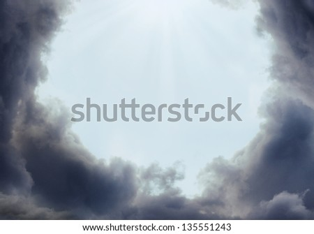 Storm clouds on clear sky - stock photo