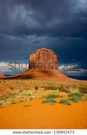 Storm clouds over Monument Valley National Park - stock photo