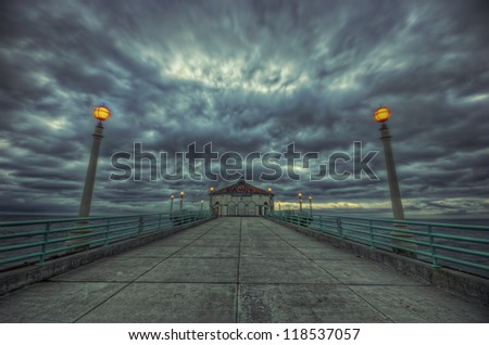 storm clouds over pier, HDR image - stock photo