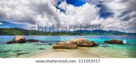 Storm clouds over the sea - stock photo