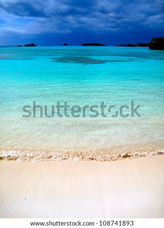 Storm Clouds over Tropical Beach, Bermuda - stock photo