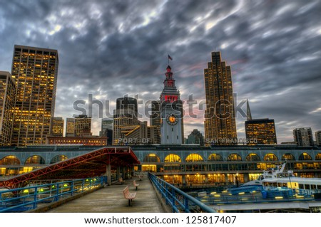 storm coming in over the embarcadero - stock photo