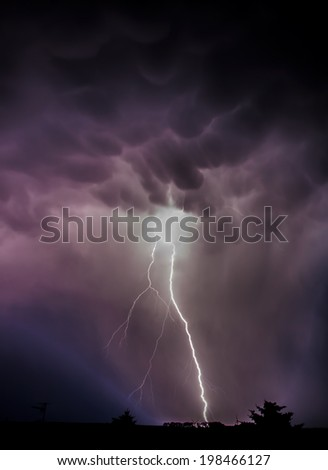 Storm front with strong lightning  - stock photo