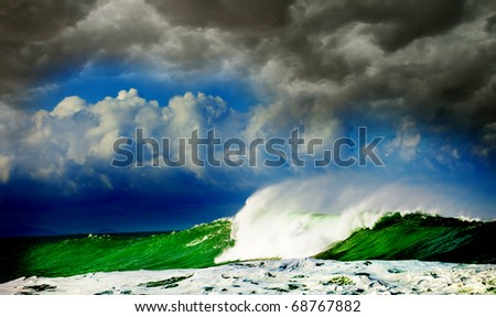 Storm in ocean,  Canary island - stock photo