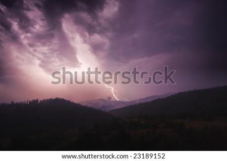 Storm in Retezat Mountains, Romania. - stock photo