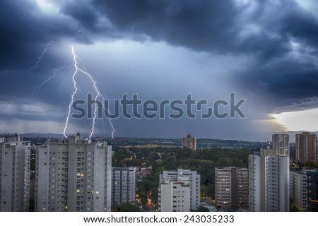 Storm in the city - Bolt - stock photo