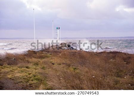 storm in the Strait of Oresund - stock photo