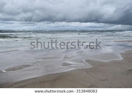 Storm on Baltic Sea. - stock photo